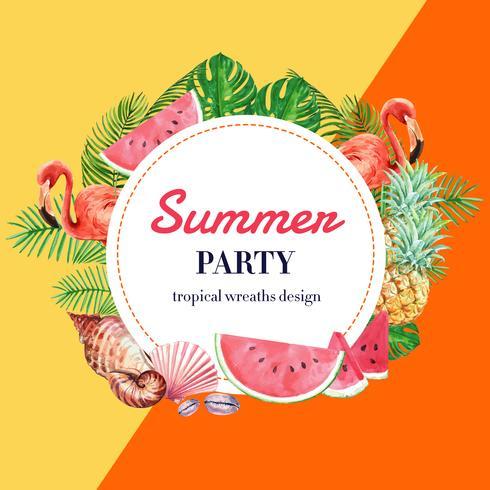 Vacaciones publicitarias de verano. Promoción a la venta con descuento. tiempo de compras de vacaciones, diseño de ilustración vectorial acuarela creativa vector