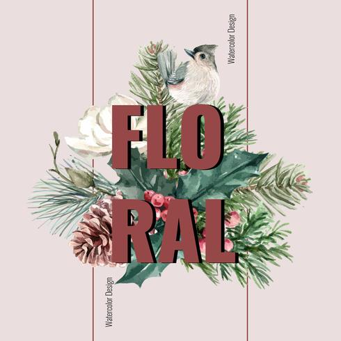 Ramo de invierno para la decoración del marco de la frontera decoración hermosa, creativa ilustración vectorial acuarela diseño