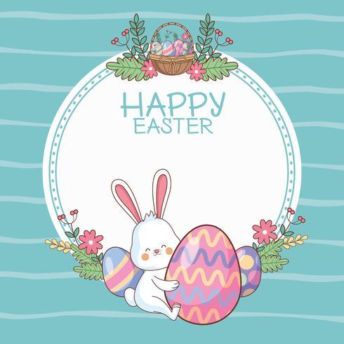 Frohe Ostern runden Rahmen mit Cartoons
