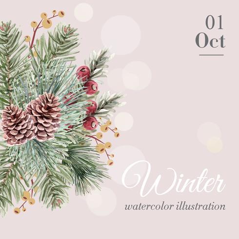 Vinterbukett för vacker dekorativ design för akvarellvektor för dekorgränsram