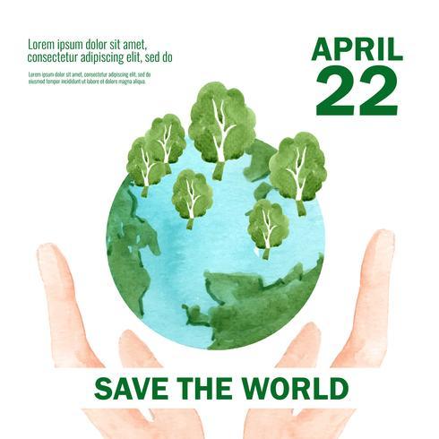 Réchauffement de la planète et pollution. Campagne de publicité brochure flyer affiche, enregistrer la conception de modèle de monde, conception créative illustration vectorielle aquarelle