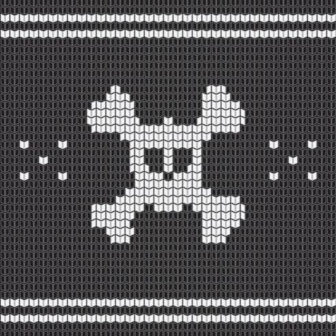 Knitted skull with bones, sweater for halloween and christmas vector