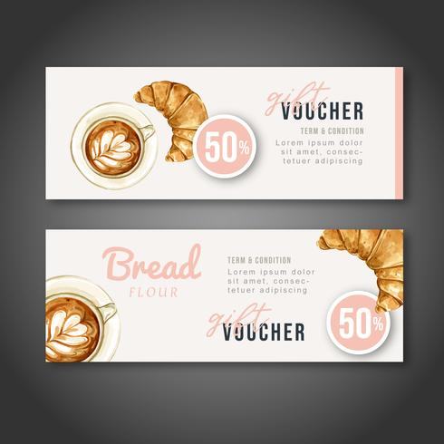 Bakkerij Cadeaubon sjabloon. Brood en broodjescollectie. zelfgemaakte, creatieve aquarel vector illustratie ontwerp