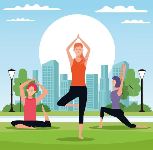 people doing yoga vector