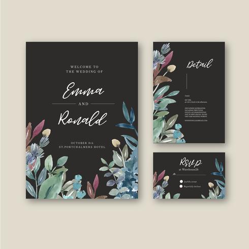Glückliche Hochzeitskartenblumengarteneinladungs-Kartenheirat, uAwgdetail. Raumplanweinleseverzierung schön, Aquarellvektorillustrationsschablonensammlungsdesign