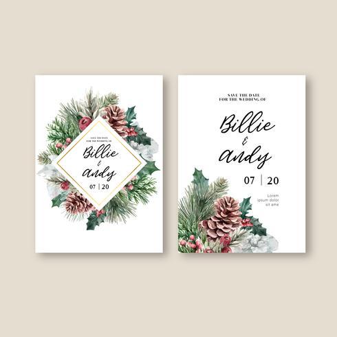 Blühende elegante Hochzeitseinladungsmit blumenkarte des Winters für die schöne Dekorationsweinlese, kreatives Aquarellvektor-Illustrationsdesign