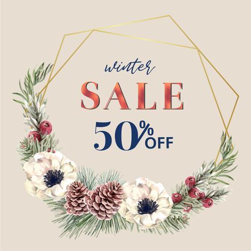 Marco floral de la guirnalda floreciente del invierno elegante para el diseño hermoso, creativo del vintage del vector de la decoración de la acuarela que crea