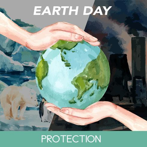 Réchauffement de la planète et pollution. Campagne de publicité de médias sociaux, enregistrez le modèle de monde, conception créative illustration vectorielle aquarelle