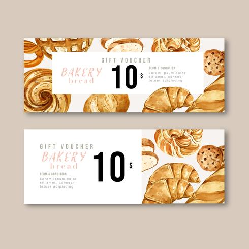 Bakery Gift Voucher Template Bread And Bun Collection Home Made Creative Watercolor Vector Illustration Design Download Free Vectors Clipart Graphics Vector Art