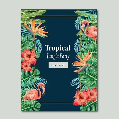 Verano tropical del diseño del cartel con las plantas exóticas, diseño creativo creativo de la plantilla del ejemplo del vector de la acuarela