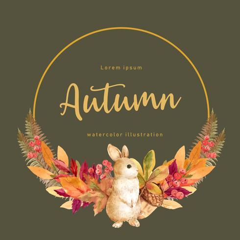 Quadro da grinalda da estação do outono com folhas e animal. Cartões de outono saudações perfeitos para impressão, convite, modelo, design criativo de ilustração vetorial aquarela