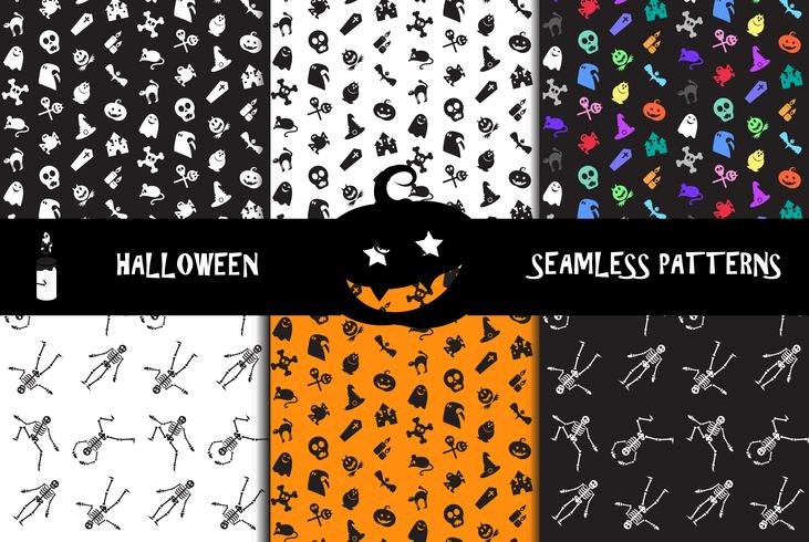 Halloween icons seamless patterns set vector