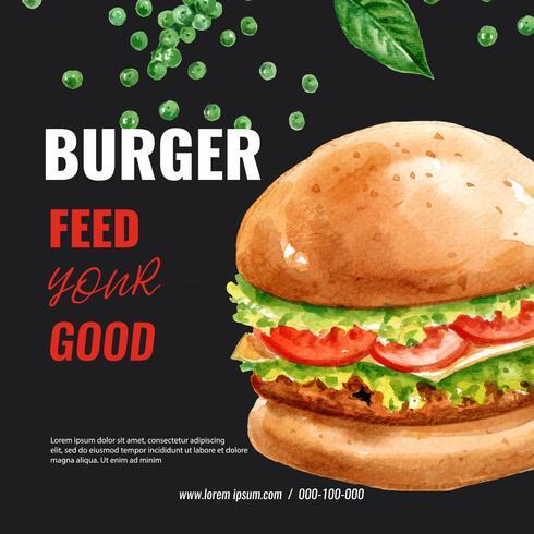 Fast-Food-Restaurant-Menü-Design. Feldgrenzhintergrundmenü-Listenaperitiflebensmittel, Schablonendesign, kreatives Aquarellvektor-Illustrationsdesign