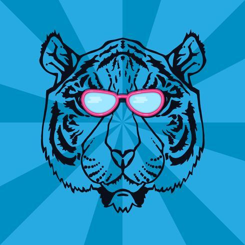 arte de línea tigre vector