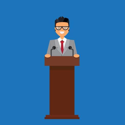 Professor or businessman on tribune. vector