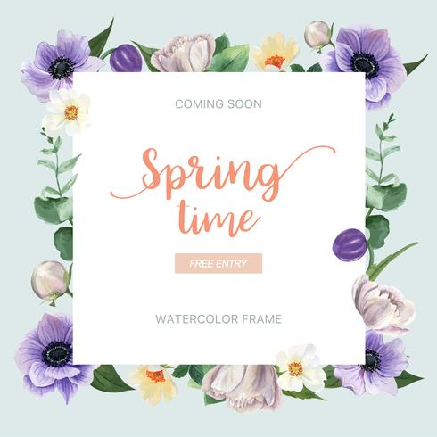 Spring wreath frame fresh flowers, decor card with floral colorful garden, wedding, invitation, watercolor vector illustration design