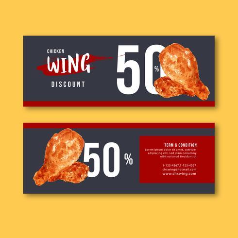 Comida rápida gif vale descuento orden menú aperitivo comida, diseño de plantilla, acuarela creativa vector ilustración diseño
