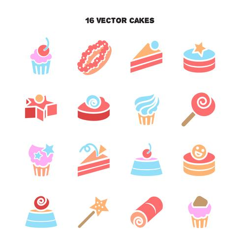 Collection of bakery and cake icons. Candy, sweet set vector