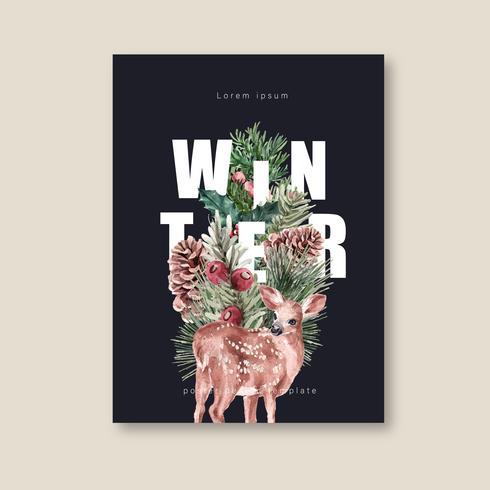 Blommig affisch för vinter, vykort elegant för vacker, kreativ akvarellvektorillustration för dekorativ tappning