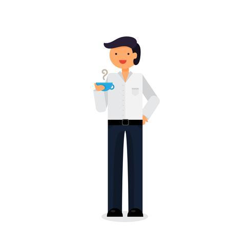 Werknemer met koffie