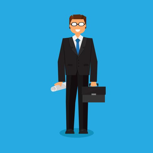 Successful businessman with a suitcase vector
