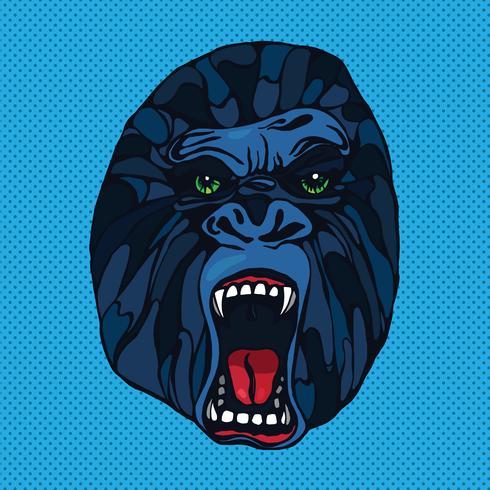 Tatuagem de gorila rosnando vetor