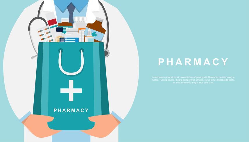 apotheekachtergrond met arts die een geneeskundezak houdt