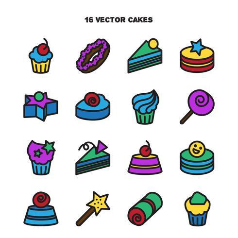 Colección de iconos de panadería y pastel. Dulces, dulce conjunto vector