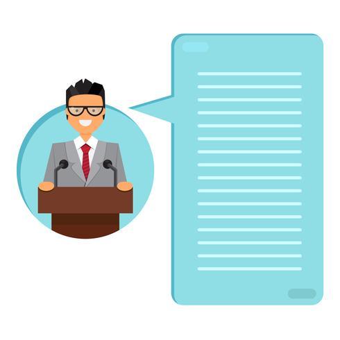 Professor ou empresário na tribuna vetor