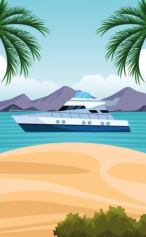 dibujos animados de paisaje de la costa vector