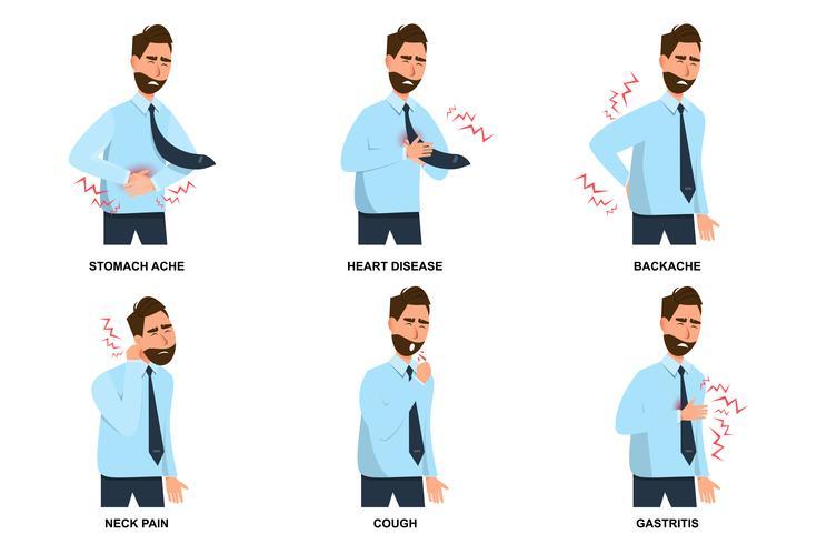 ensemble de l'homme malade maux d'estomac, maladie cardiaque, mal de dos, cervicalgie, toux et gastrite