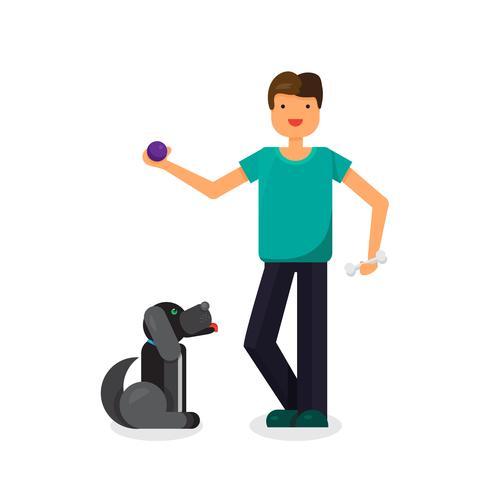 Lycklig man med härlig hund