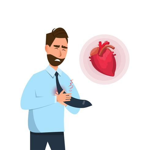 Der Mensch hat frühe Symptome eines Herzinfarkts