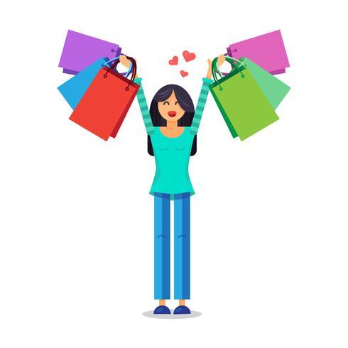 Meisje met boodschappentassen