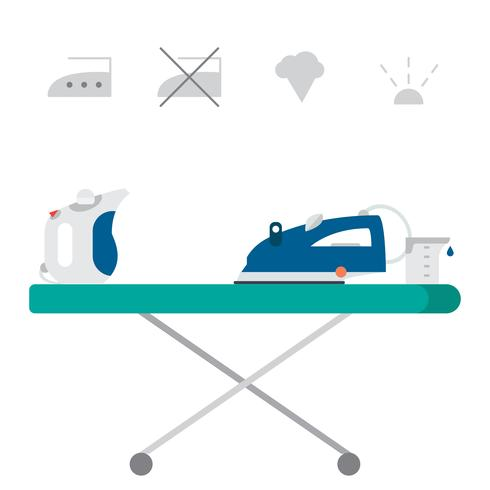 Isolated steam iron icon and beaker vector