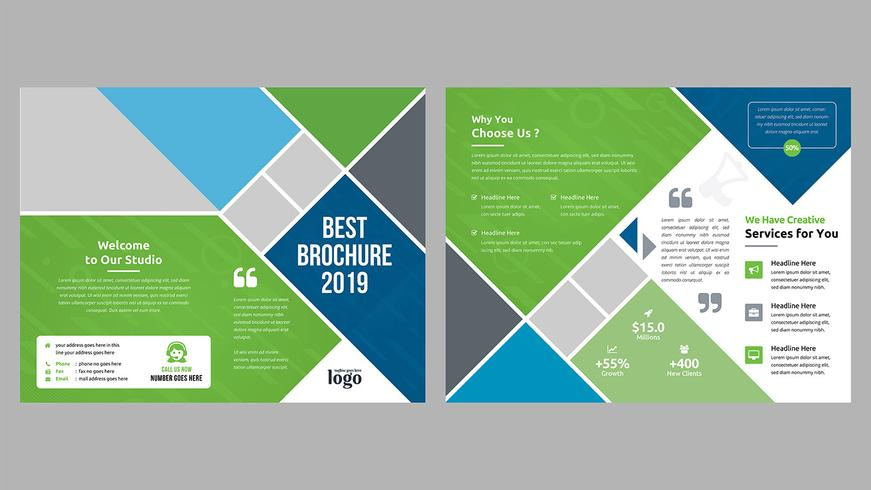 Diseño de folleto bi-fold vector