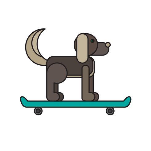 Hund sitzt auf einem Skateboard