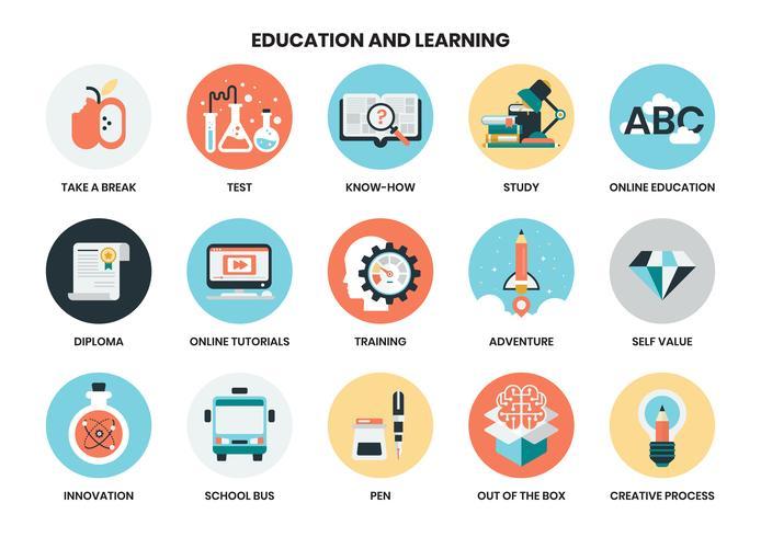 ícones de educação para negócios vetor