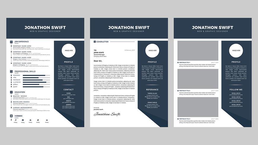 Persoonlijk 3 pagina CV CV ontwerpsjabloon vector