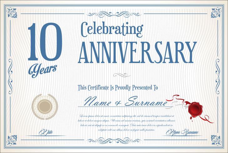 Retro vintage verjaardag 10 jaar achtergrond vector