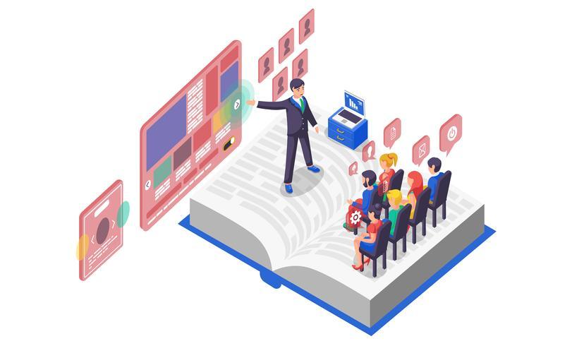 Vector illustration isometric business presentation on book white background slide graph infographics design audience viewers listeners speaker speech orator speechmaker screen advertising notebook