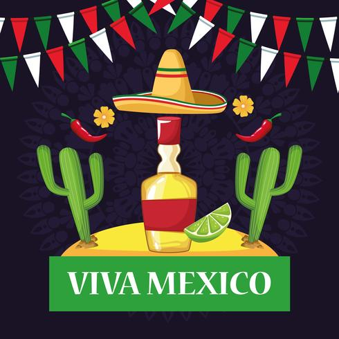 Viva mexico tarjeta de dibujos animados vector