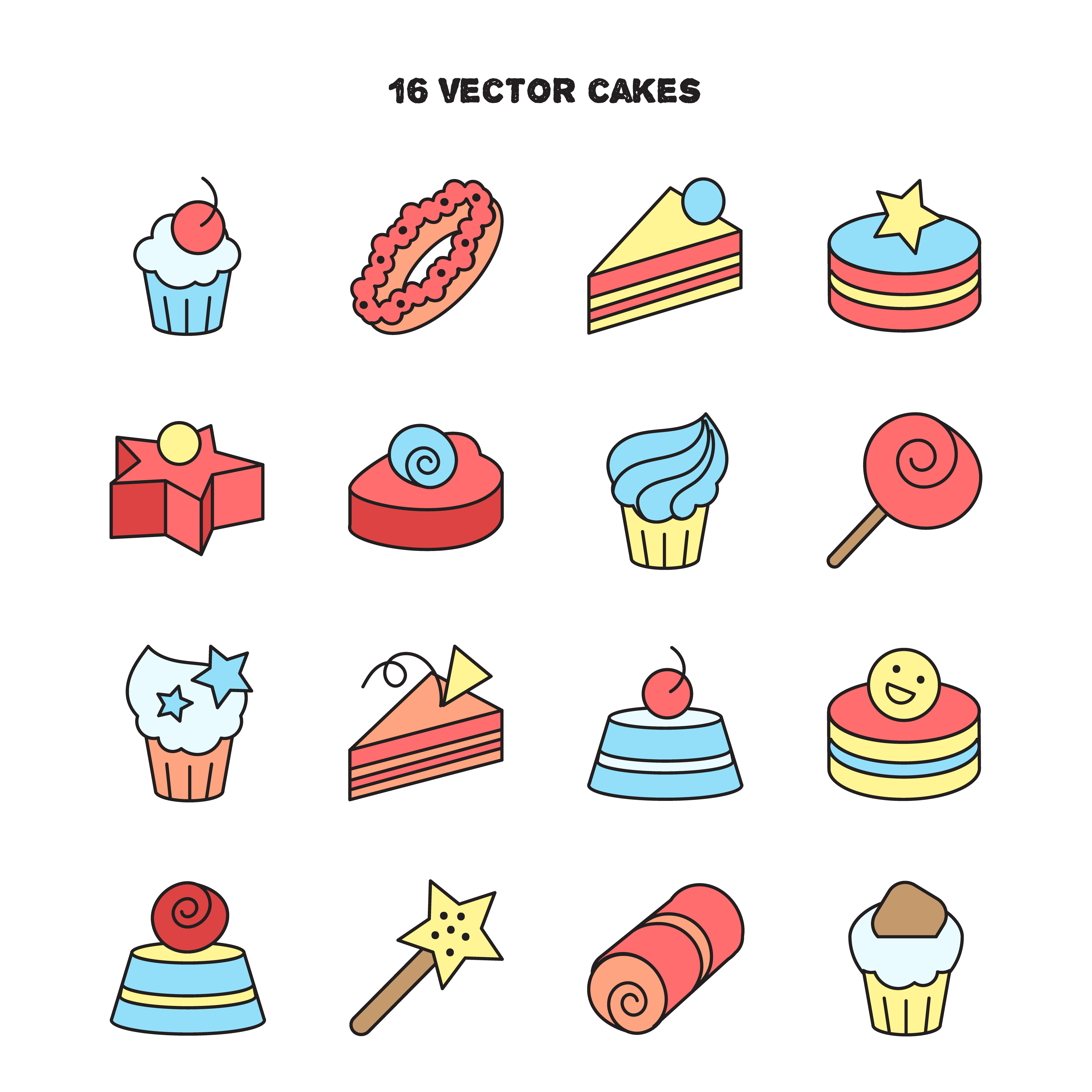 Collection Of Bakery And Cake Icons Candy Sweet Set Download Free Vector Art