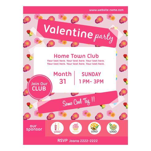 söt valentin party affisch med buttercup mönster