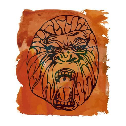 Tatuaje de gorila gruñendo vector