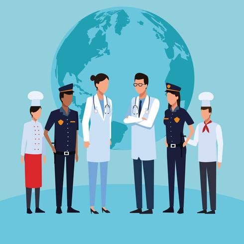 Job and workers vector