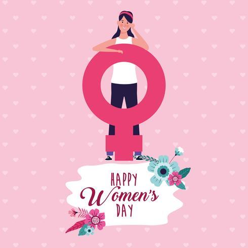 Carte de fête des femmes heureuse vecteur