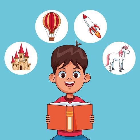 Kids reading fairy tales vector
