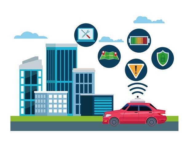 concept d'emplacement de service de voiture de taxi vecteur