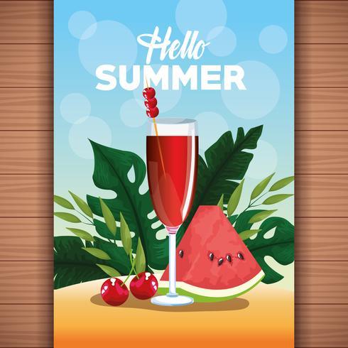 Hola cartel de tarjeta de verano con dibujos animados.